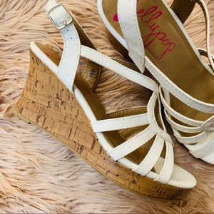 Jellypop Shoes - Jellypop   Light Cream Cork Wedge Sandal - Size 8